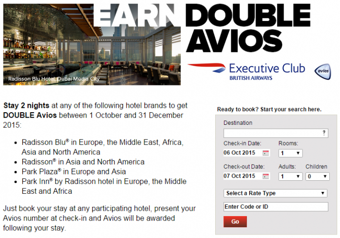Club Carlson British Airways Executive Club Double Avios October 1 December 31 2015