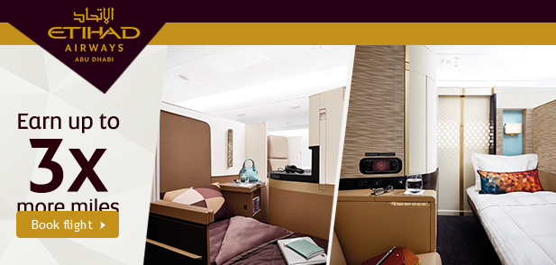 Etihad Airways Guest Double & Triple Bonus Miles Offer