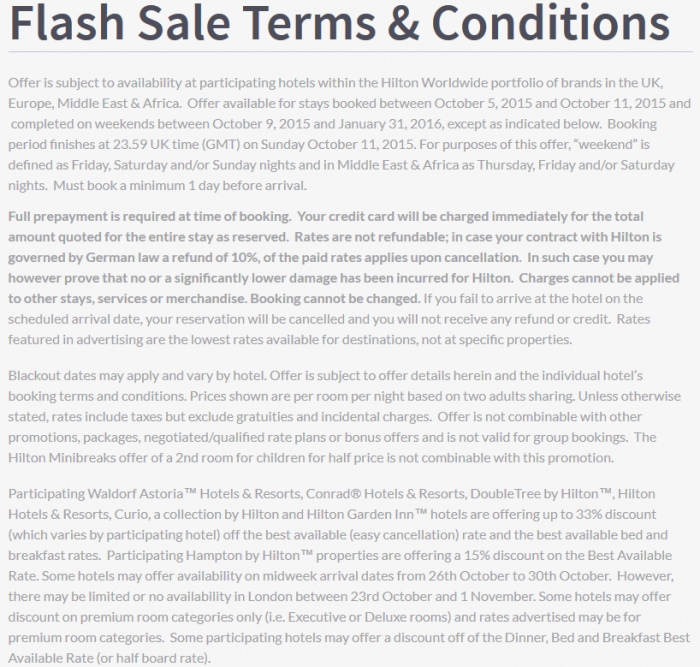 Hilton HHonors EMEA October 2015 Flash Sale Terms & Conditions