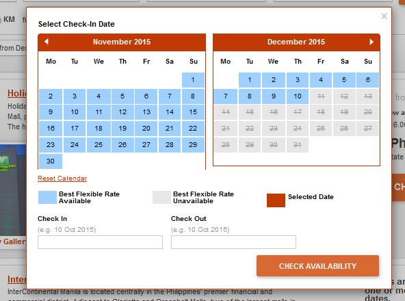 InterContinental Manila Availability Calendar
