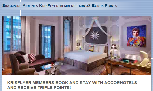 Le Club AccorHotels Singapore Airlines KrisFlyer Triple Miles Offer October 1 November 30 2015