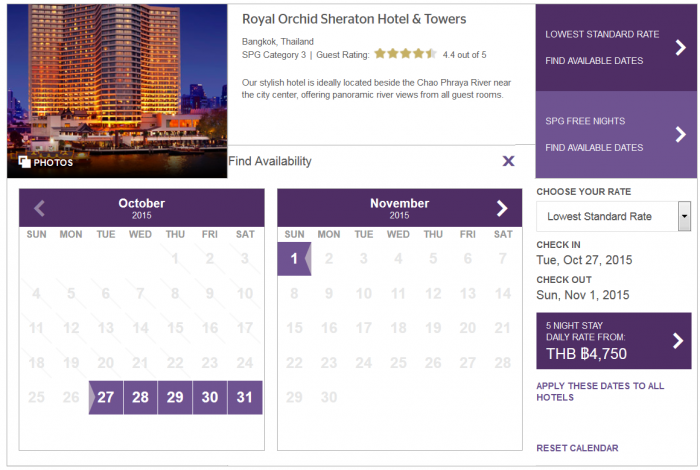 SPG Best Rate Guarantee Royal Orchid Sheraton