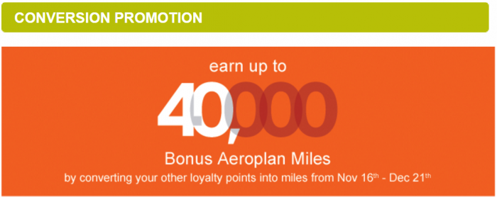 Air Canada Aeroplan Conversion Bonus Fall 2015