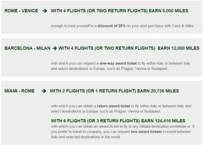 Alitalia MilleMiglia Up Tp Quadruple Miles November 15 - March 31 2016 Examples
