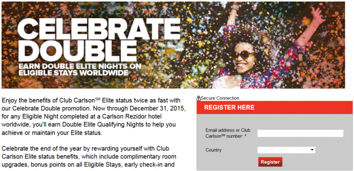 Club Carlson Double Elite Qualifying Nights November 2 - December 31 2015