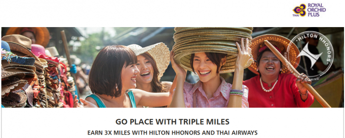 Hilton HHonors Thai Airways Royal Orchid Plus Triple Miles November 1 - January 31 2016