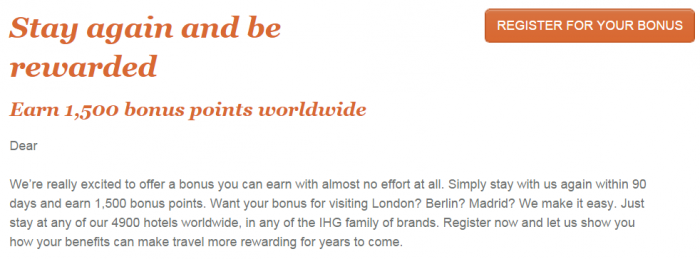 IHG Rewards Club 1,500 Bonus Points For A Stay In 90 Days Text
