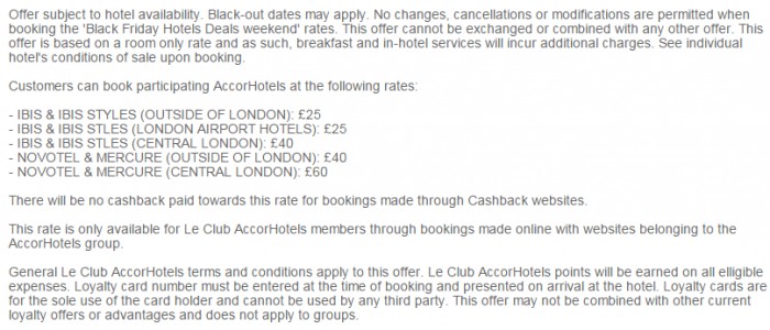 Le Club AccorHotels Black Friday & Cyber Monday UK Set Price Sale November 27 - 30 2015 Terms