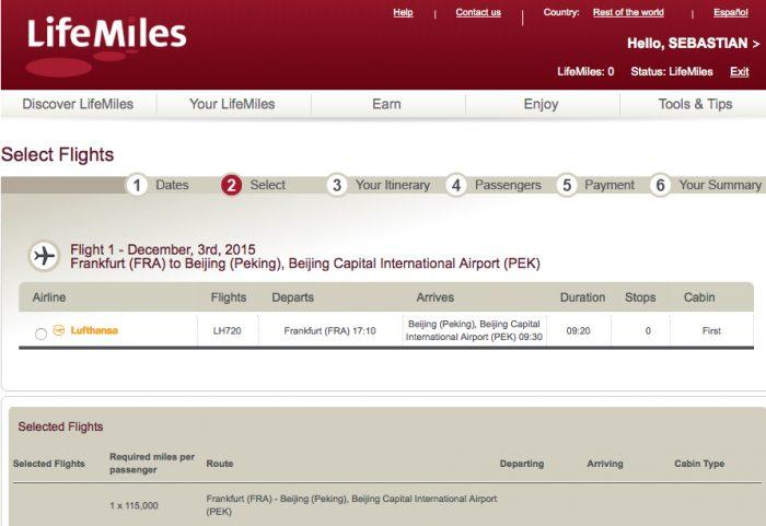 Lifemiles LH Screenshot