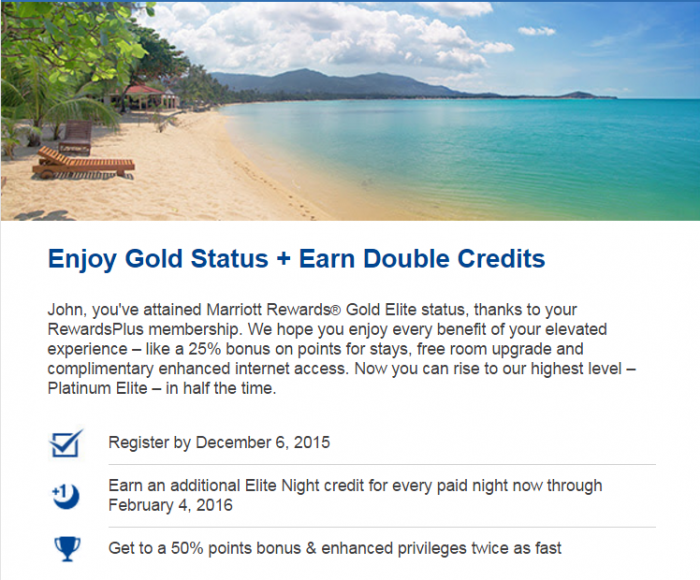 Marriott RewardsPlus Double Elite Night Credit Email