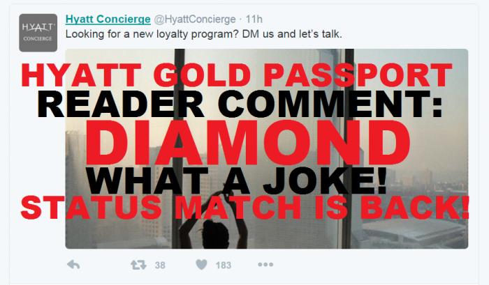 Reader Comment Hyatt Gold Passport Status Match Update