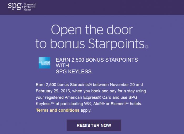 SPG Keyless 2,500 Bonus Starpoints November 20 - February 29 2016