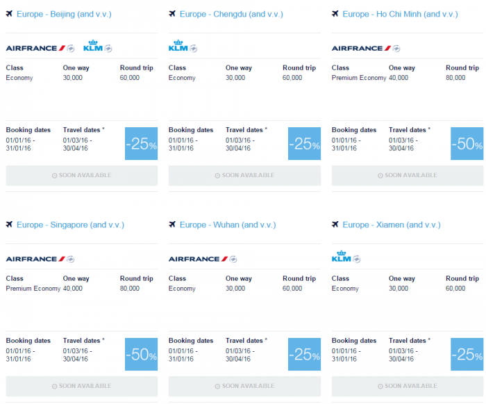 Air France-KLM Flying Blue Promo Awards January 2016 Asia Pacific 1