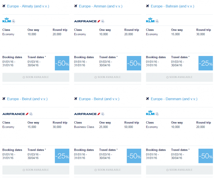 Air France-KLM Flying Blue Promo Awards January 2016 Middle East 1