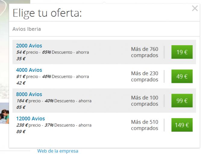 Groupon Iberia Plus Avios Price