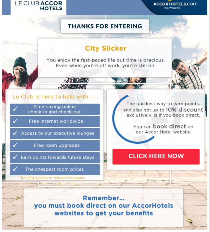 Le Club AccorHotels 100,000 Points Sweepstakes Confirmation
