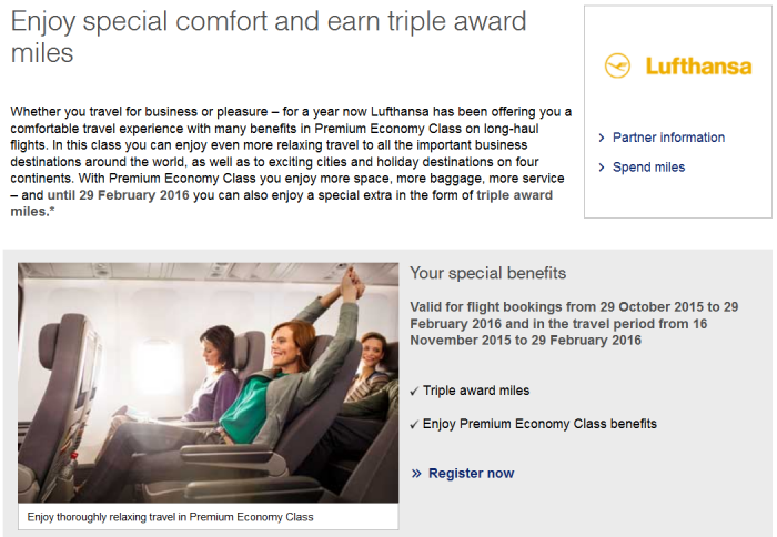 Lufthansa Miles&More Triple Miles Premium Economy