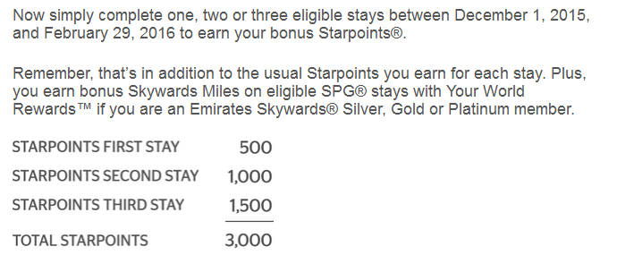 SPG Your World Rewards Promotion Offer