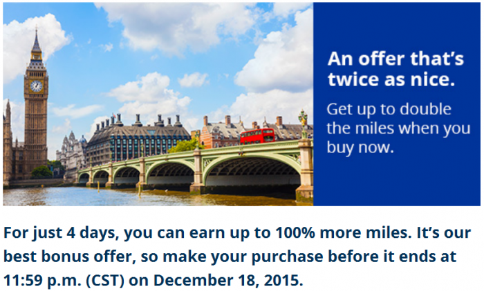UNited Airlines Buy MileagePlus Miles Up To 100 Percent Bonus December 15 - 18 2015