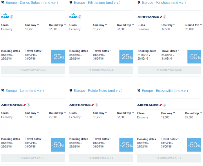 Air France-KLM Flying Blue Promo Awards February 2016 For Travel April & May Africa 1