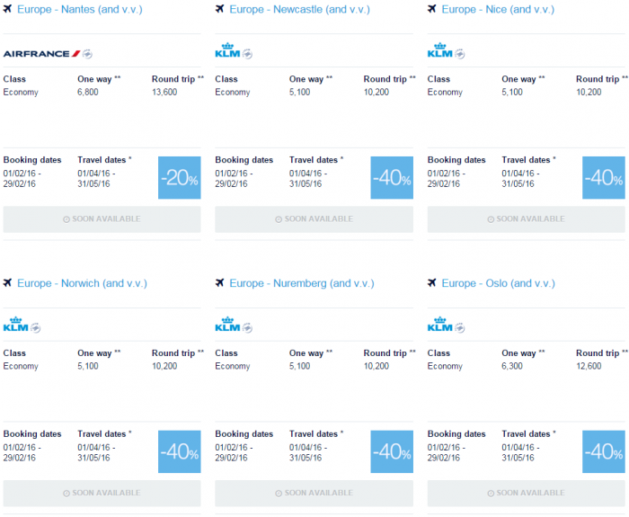 Air France-KLM Flying Blue Promo Awards February 2016 For Travel April & May Europe Specials 11