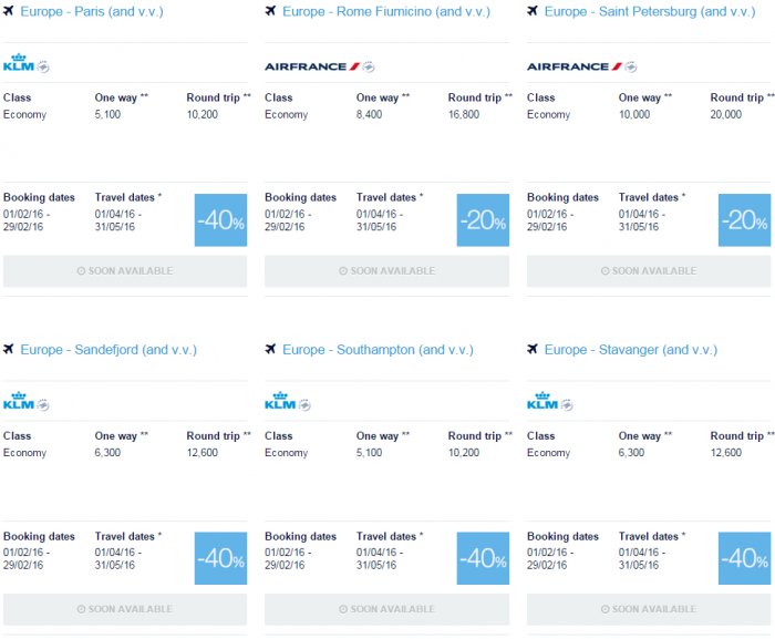 Air France-KLM Flying Blue Promo Awards February 2016 For Travel April & May Europe Specials 12