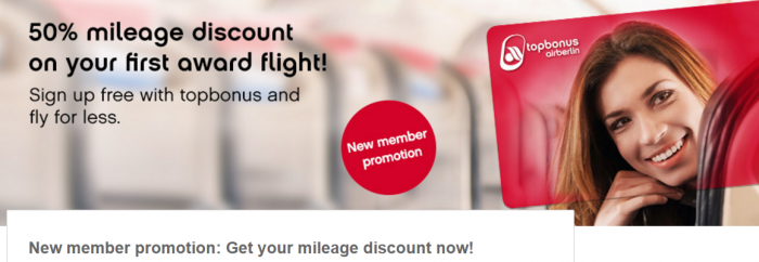 Airberlin Topbonus New Member 50 Percent Off Award