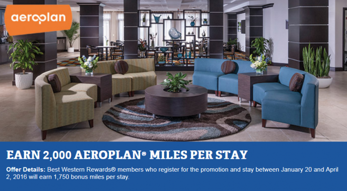 Best Western Rewards 2,000 Air Canada Aeroplan Miles Per Stay January 20 - April 2 2016