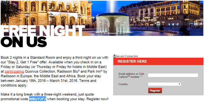 Club Carlson Europe Middle East & Africa Third Night Free