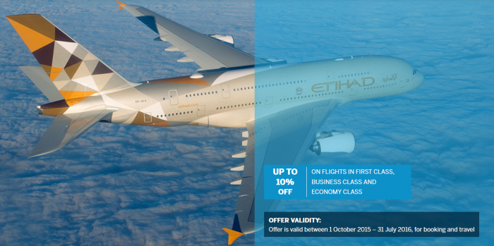 Etihad Airways 10 Percent Off Amex Offer