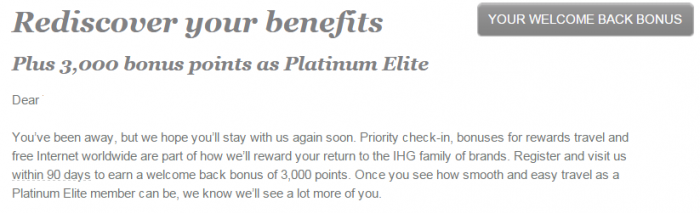 IHG Rewards Club Platinum Welcome Back Bonus 3,000 Points Text