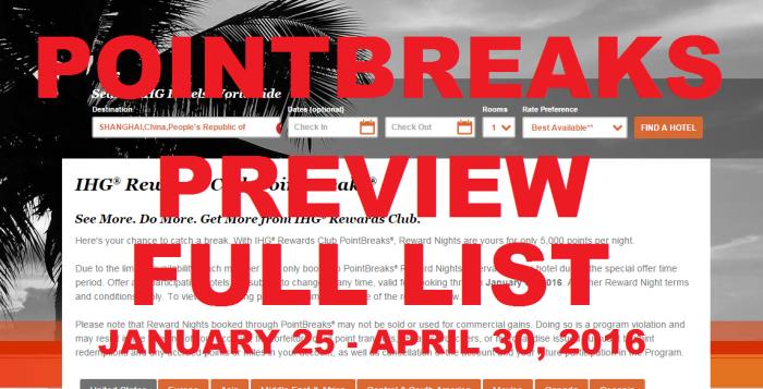 IHG Rewards Club PointBreaks January 25 - April 30 2016