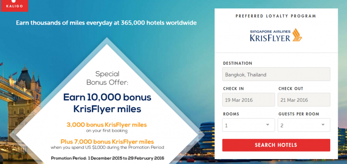 Kaligo Singapore Airlines First Booking Offer 3,000 Miles February 29 2016