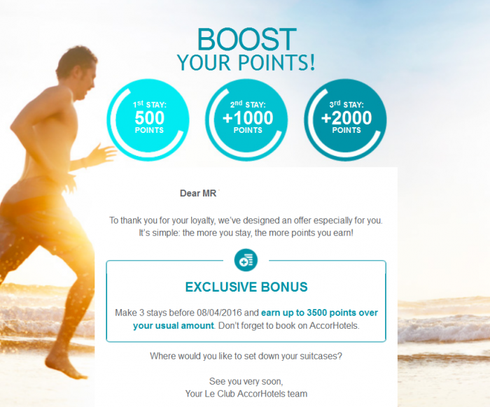 Le Club AccorHotels Boost Your Points Targeted Promo 3500 Points U