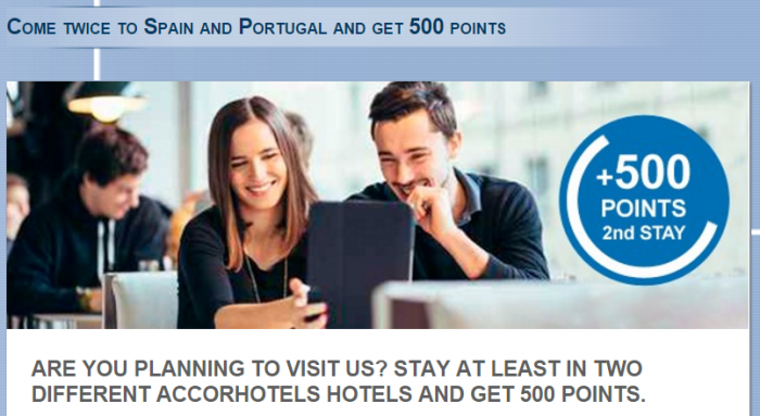 Le Club AccorHotels Spain & Portugal 500 Bonus Points January 11 - March 17 2016