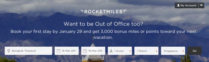 Rocketmiles 3,000 Bonus Miles First Booking Bonus January 26 2016