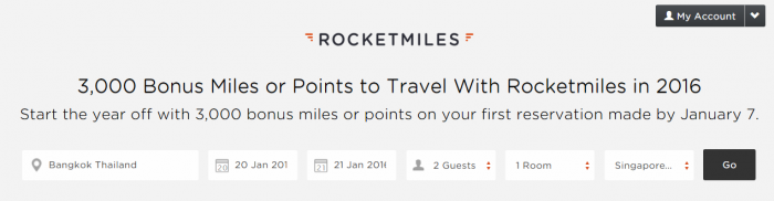 Rocketmiles 3,000 Bonus Miles First Booking Bonus January 7 2016