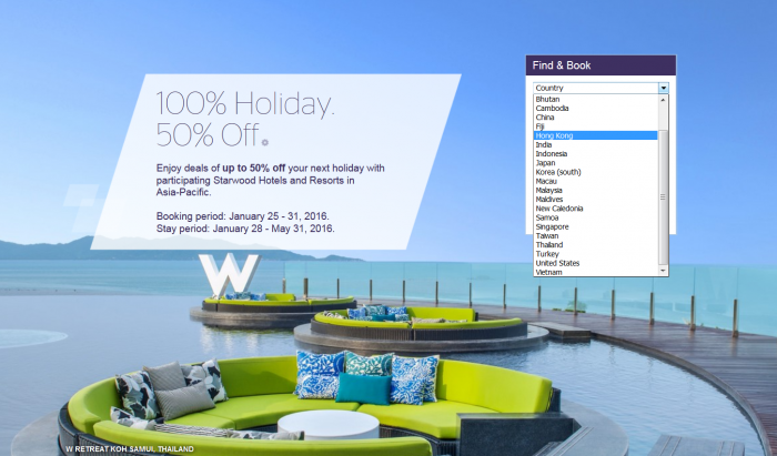Starwood Preferred Guest Asia Pacific Up to 50 Percent Off Sale
