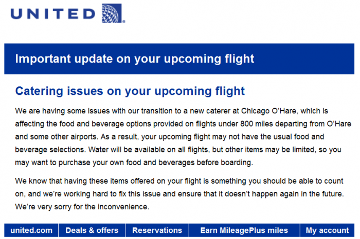 United Airlines Chicago Catering Issue