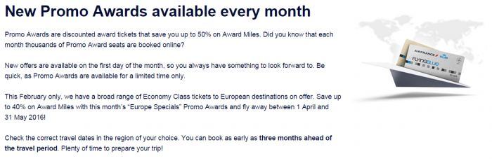 Air France-KLM Flying Blue Promo Awards May 1 - June 30 2016