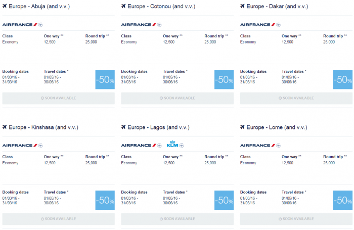 Air France-KLM Flying Blue Promo Awards May 1 - June 30 2016 Africa 1