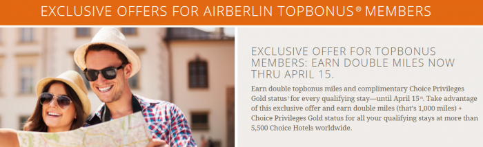 Choice Hotels Choice Privileges Double Airberlin Topbonus Miles February 15 - April 15 2016