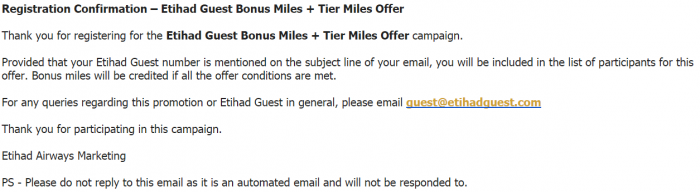 Etihad Airways Double & Triple Award & Trier Miles February 10 - June 30 2016 Confirmation