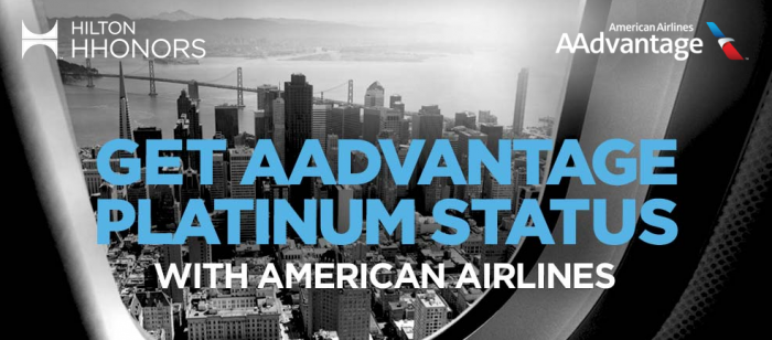 Hilton HHonors American Airlines Complimentary Platinum + Status Fast Track