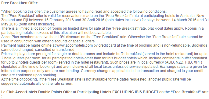 Le Club AccorHotels Australia, Fiji & New Zealand Breakfast Inclusive Double Points Rate March 14 - May 31 2016 TCs 1