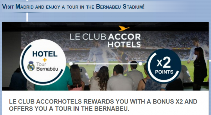Le Club AccorHotels Bernabey Double Points Offer March 18 - May 18 2016