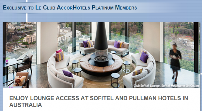Le Club AccorHotels Platinum Pullman & Sofitel Australia Lounge Access