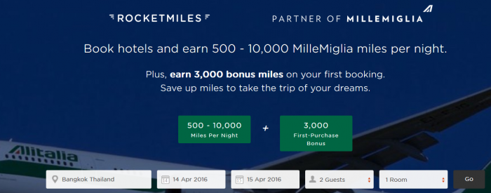 Rocketmiles Alitalia MilleMiglia 3,000 Bonus Miles First Booking By February 29 2016