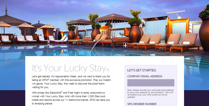 SPG Your Lucky Stay Promotion