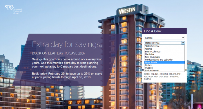 Starwood Preferred Guest Leap Say Sale Canada